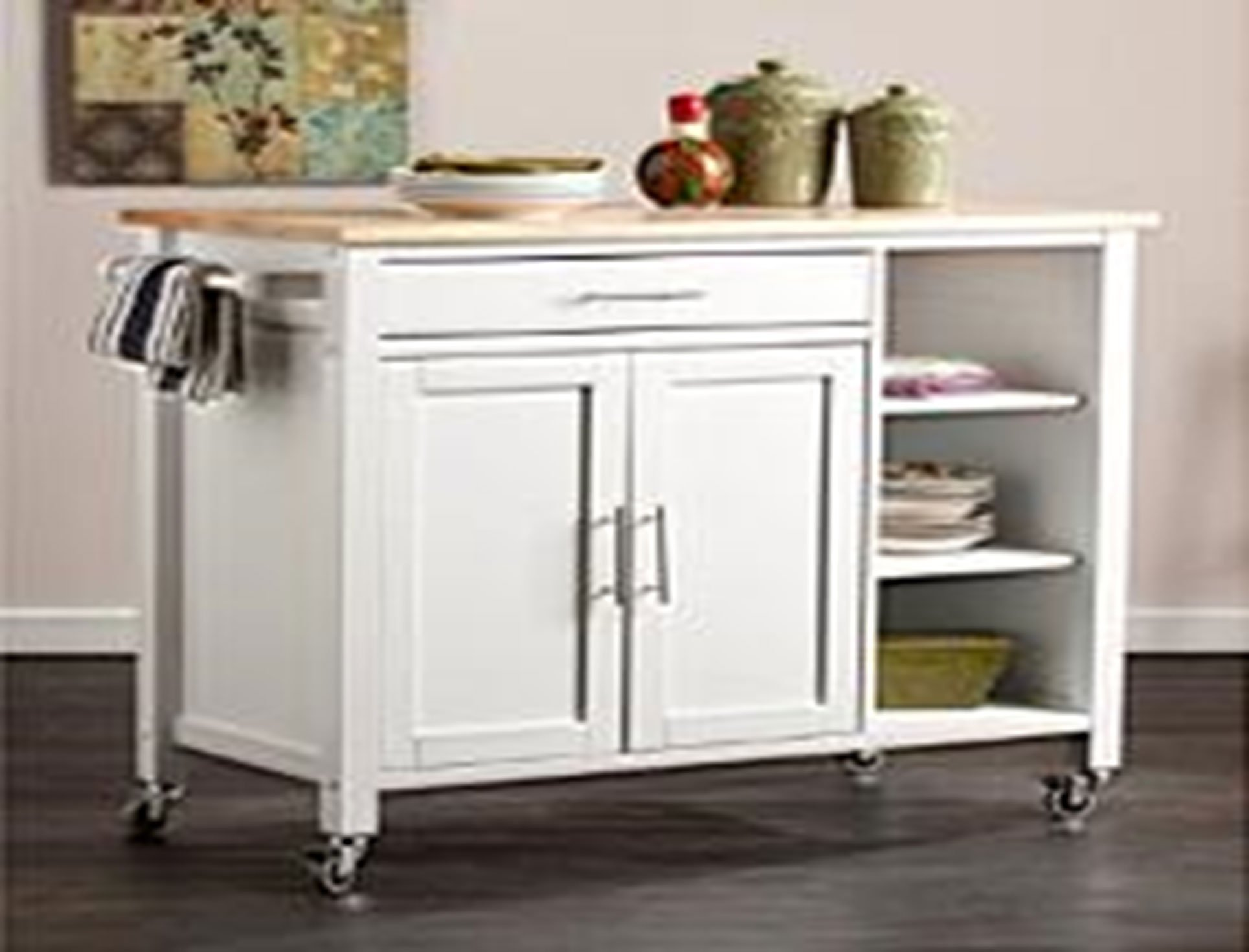 "Oliver and Smith - Nashville Collection - Large Mobile Kitchen Island Cart on Wheels - White - Natural Butcher Block Top - 41"" W x 19"" L x 36"" H 102096-01white"