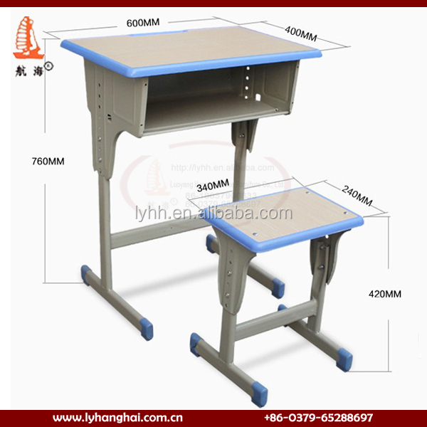 Cheap Steel Furniture Single School Desk With Chair For Student