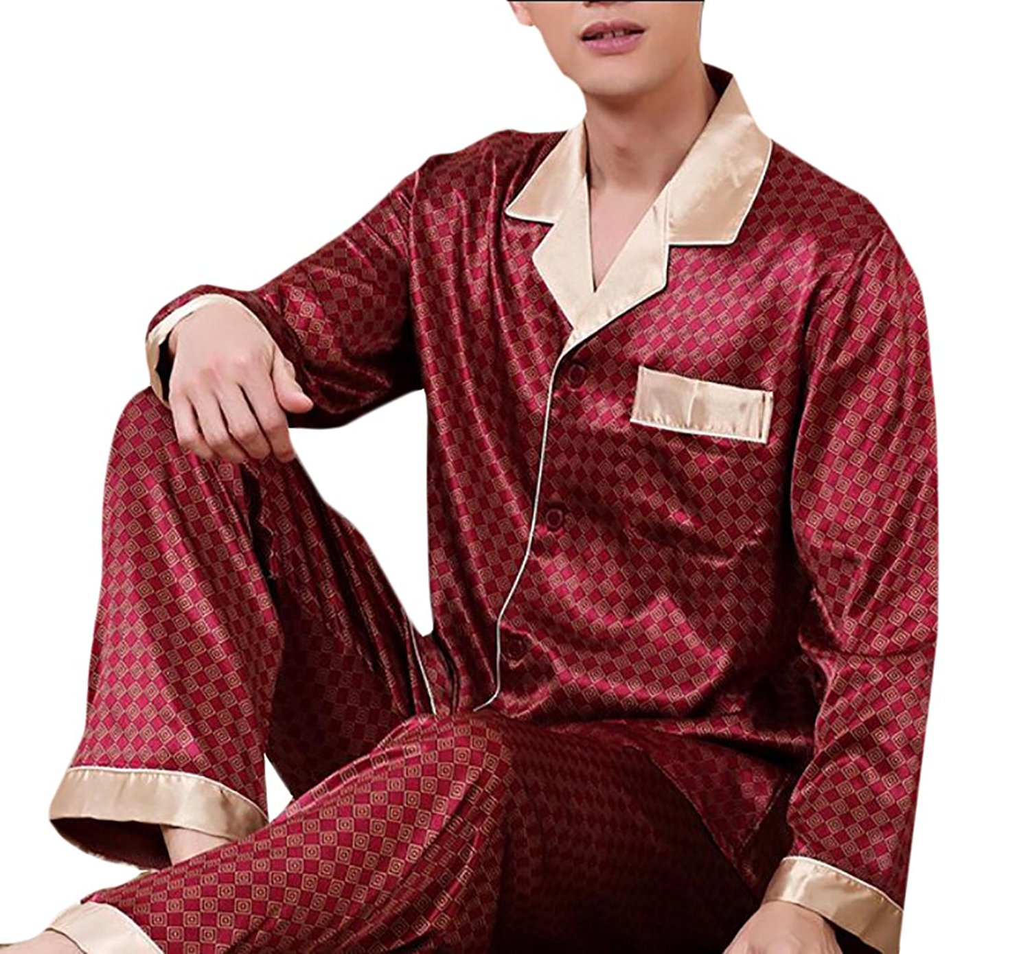 d89e104c87 Get Quotations · Pivaconis Mens Warm Silk Pajamas Set For Most Comfortable  Sleepwear