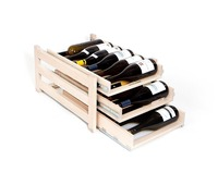 Solid wood 3 tier 18 In-Cabinet Sliding Spice savingTray Wine Rack for 18-bottle