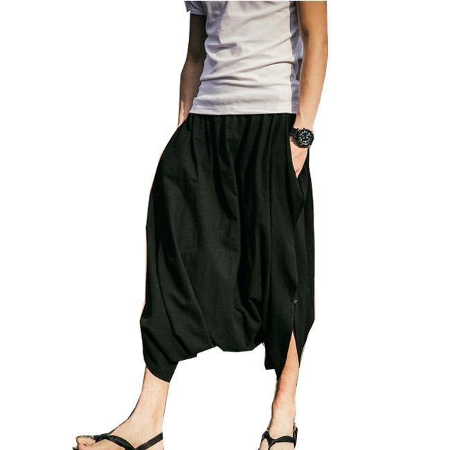 c451df5d61f04 Low Crotch Trousers Loose Linen Ankle-length Men Cross-pants Thin Trend  Solid Harem
