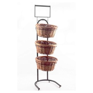 3 Tiered Wicker Basket Stand Comes With Three Containers And Sign Holder