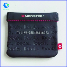 full embossing leather pouch with side label leather flap pouch