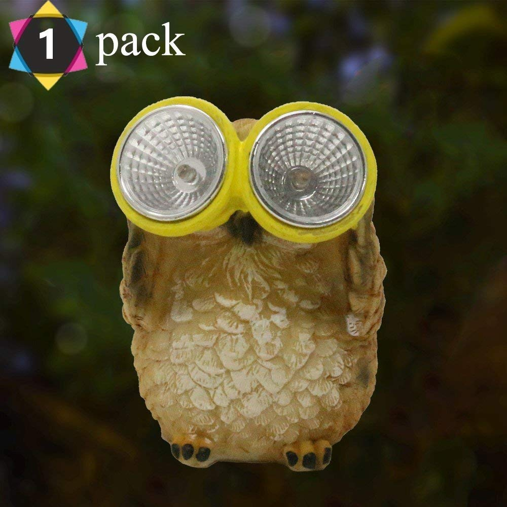 Get Quotations · G Solar Solar Powered Animal Resin Owl Patio Lawn Outdoor  LED Garden Light Decorative Gifts