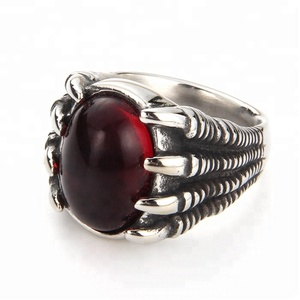 New trendy 316l stainless steel anti silver dragon claw rings with red stone punk red coral dragon rings