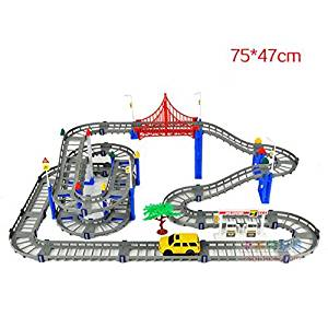 LIXIN Thomas 3 Level Highway Tracks With Electric SUV Car, Wheel Tracks Sets With Bridges And Automatic Lift Elevator 32488 Children's Electric Track Toys for Above 3 Years Old Children