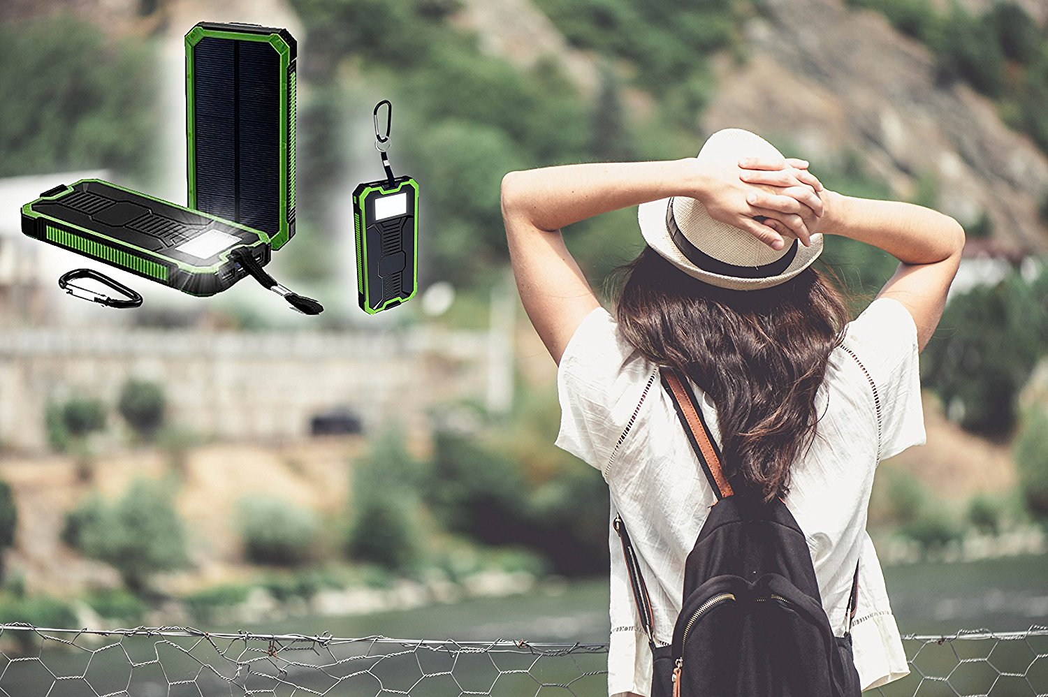 Power bank 20000mAh Portable with a solar charger for backup. Dual USB Ports, Phone Charger for iPhone iPad Cell Phones Tablets, Emergency Backup Battery with Flashlight.Get yours now!!
