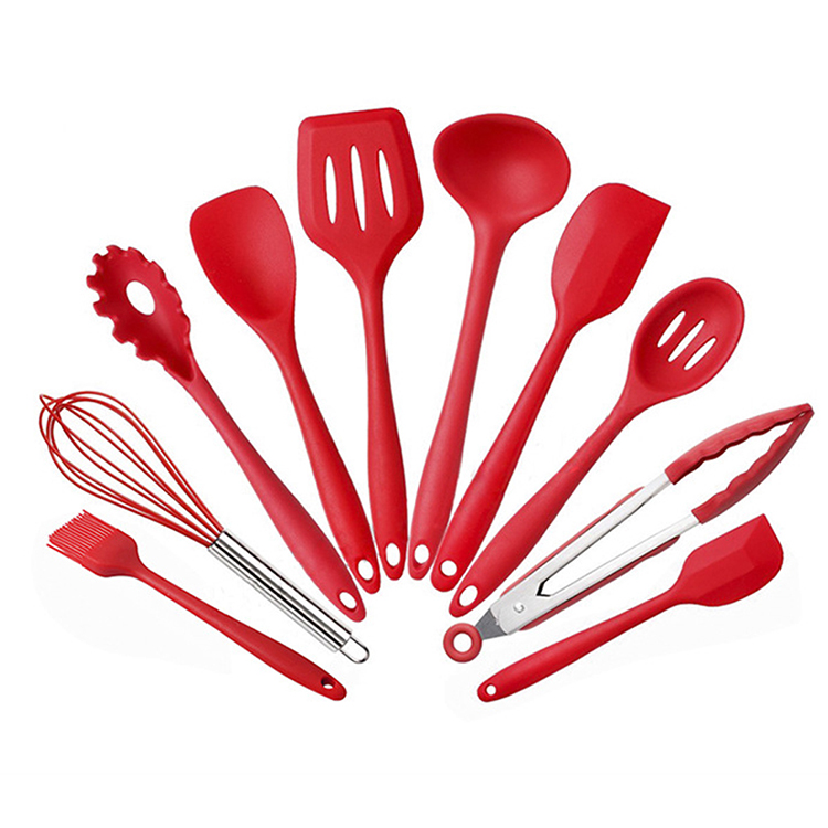 Silicone Cooking Tool Kitchen Utensils ladle spoon 10 Pieces red kitchen utensil <strong>set</strong>