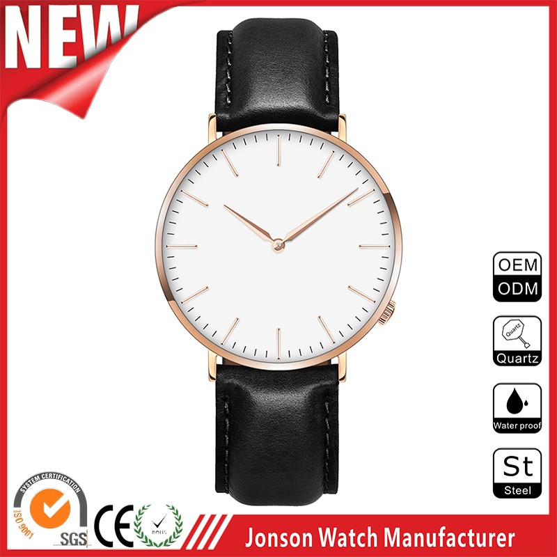 Simple style two hand japan movt quartz watch stainless steel wrist watch men