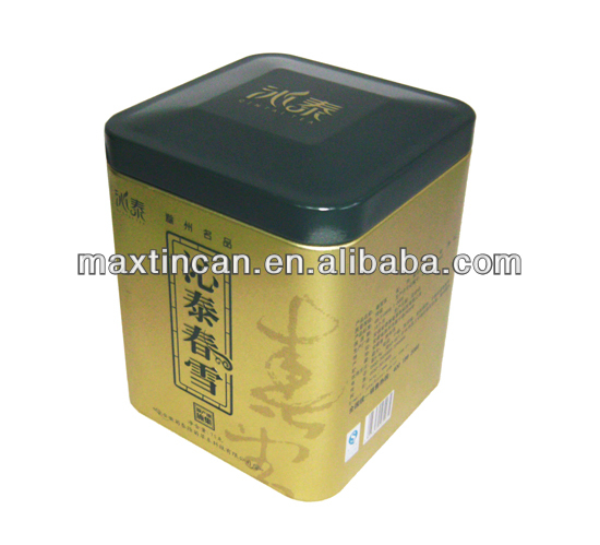 square tea tin box metal tin box with inner lid