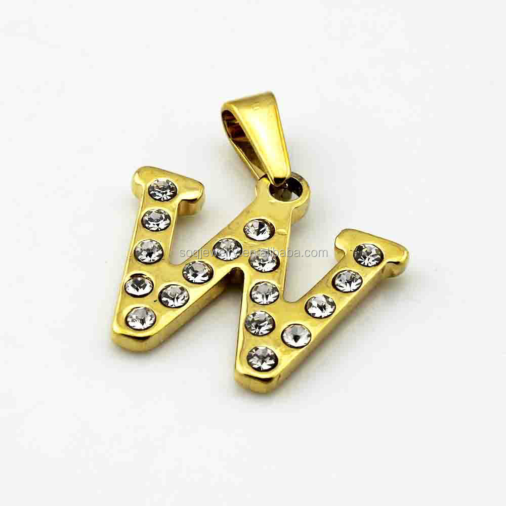 New Designs Stainless Steel CZ Diamond W Alphabet Pendant for Unisex Jewelry