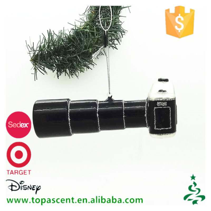 Newly design wholesale hand blown glass black full-length shot camera christmas tree ornaments.