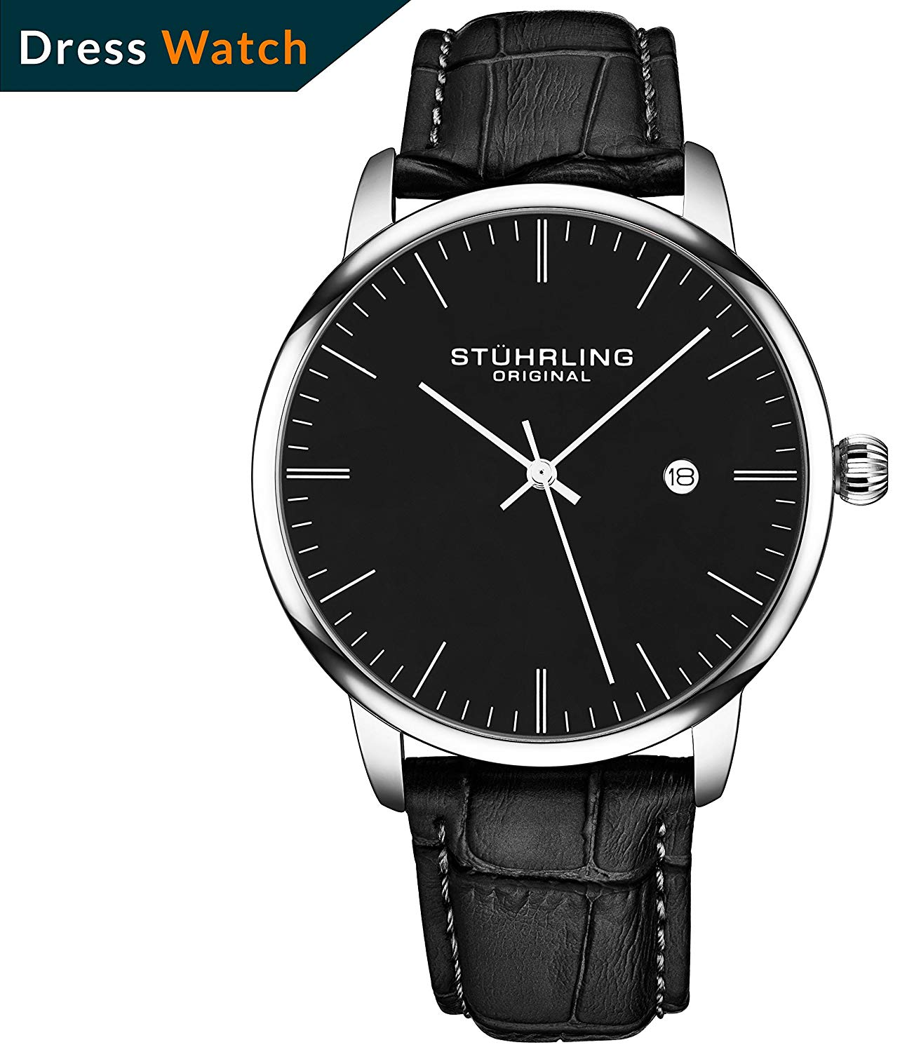 49942792fcc Get Quotations · Stuhrling Original Mens Watch Calfskin Leather Strap -  Dress + Casual Design - Analog Watch Dial