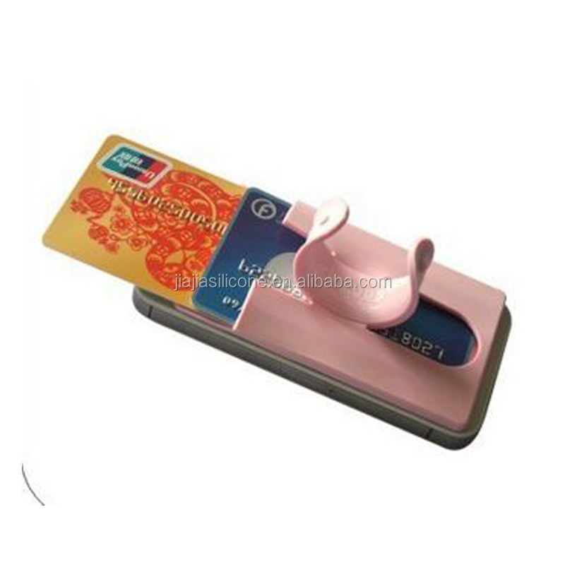 P1906 Newly Black silk touch 3M sticker silicone mobile phone card pocket with stand holder,Touch C cell phone holder