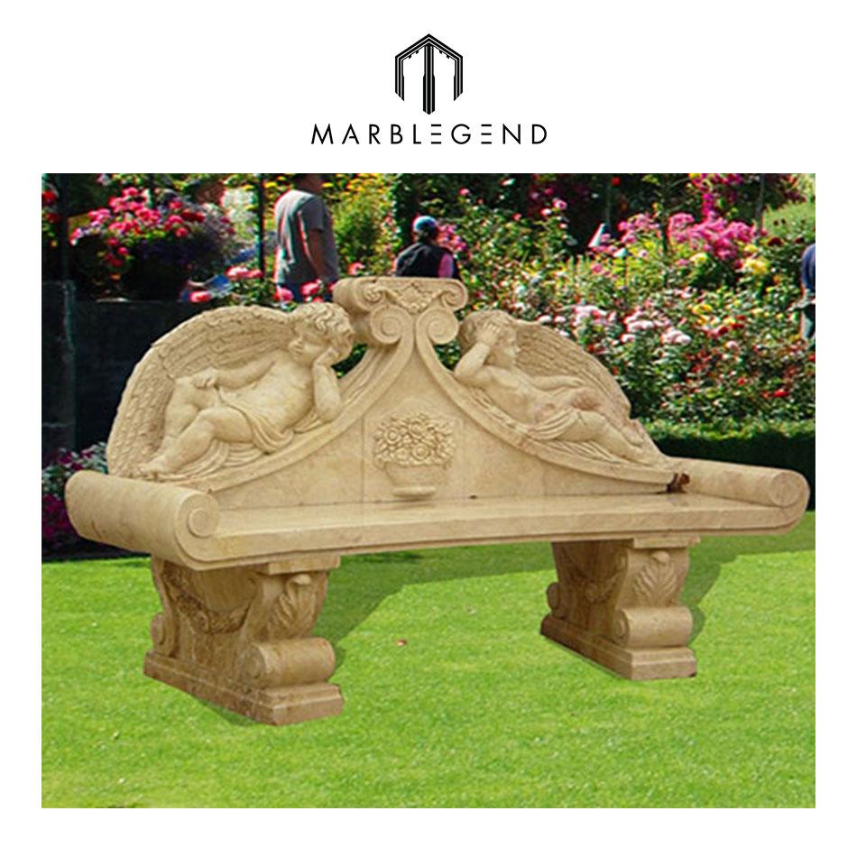 Beige marble ideas with cute cherub design outdoor garden bench