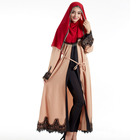 Wholesale kaftan dress women islamic clothing full sleeve with lace contrast waist string maxi dress