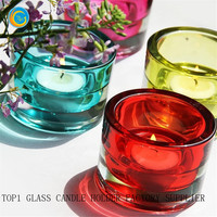 thick glass candle holders and containers