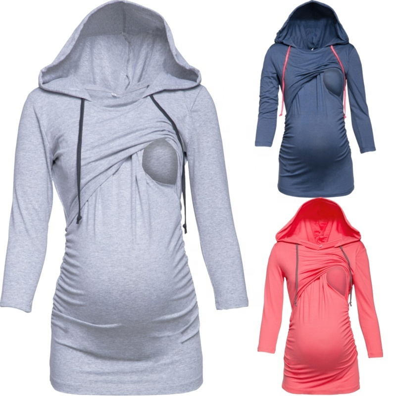 S-2XL Women Autumn Winter Fashion Long Sleeve Solid Color Pregnant Hoodie Nursing Pullover фото