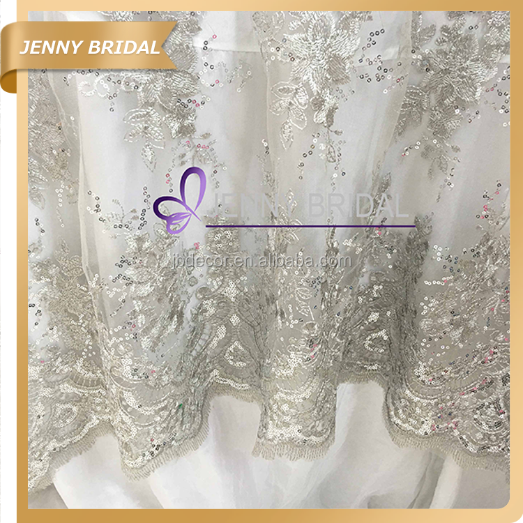 Tl002s1 Fancy Wedding Silver Embroidery Sequin Lace Table