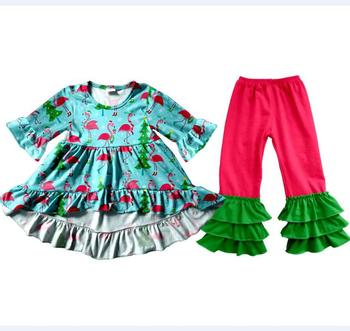 2017 yiwu children clothes Flamingo Christmas clothes autumn outfit beautiful children clothes online