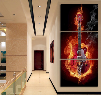 Music Art 3 Panel Wall Painting Modern Home Decors Black Burning Guitar Pop Art Pictures Decorn On Canvas Painting Printed Buy Framed Wall Art