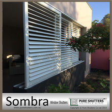Built-in wall mounted sliding Aluminum Exterior decorative louver window shutters