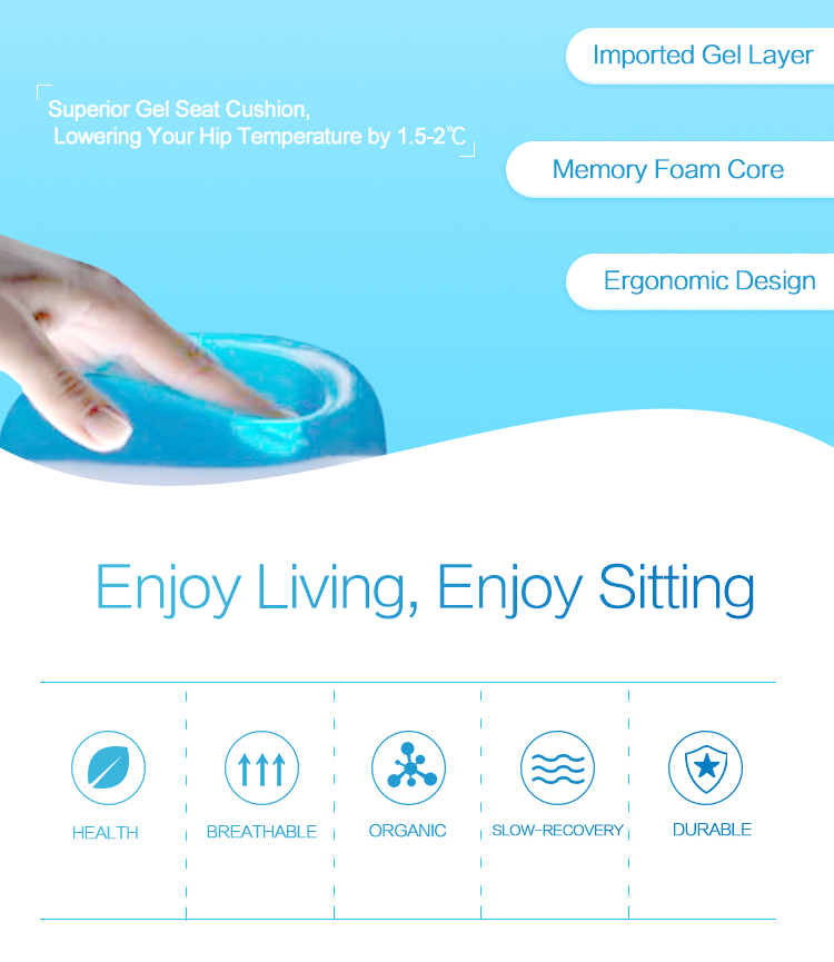 Ergonomic Chair Seat Cushion Back Pain Silicone Sitting Summer Office Chair Cooling Memory Foam Gel Seat Cushion