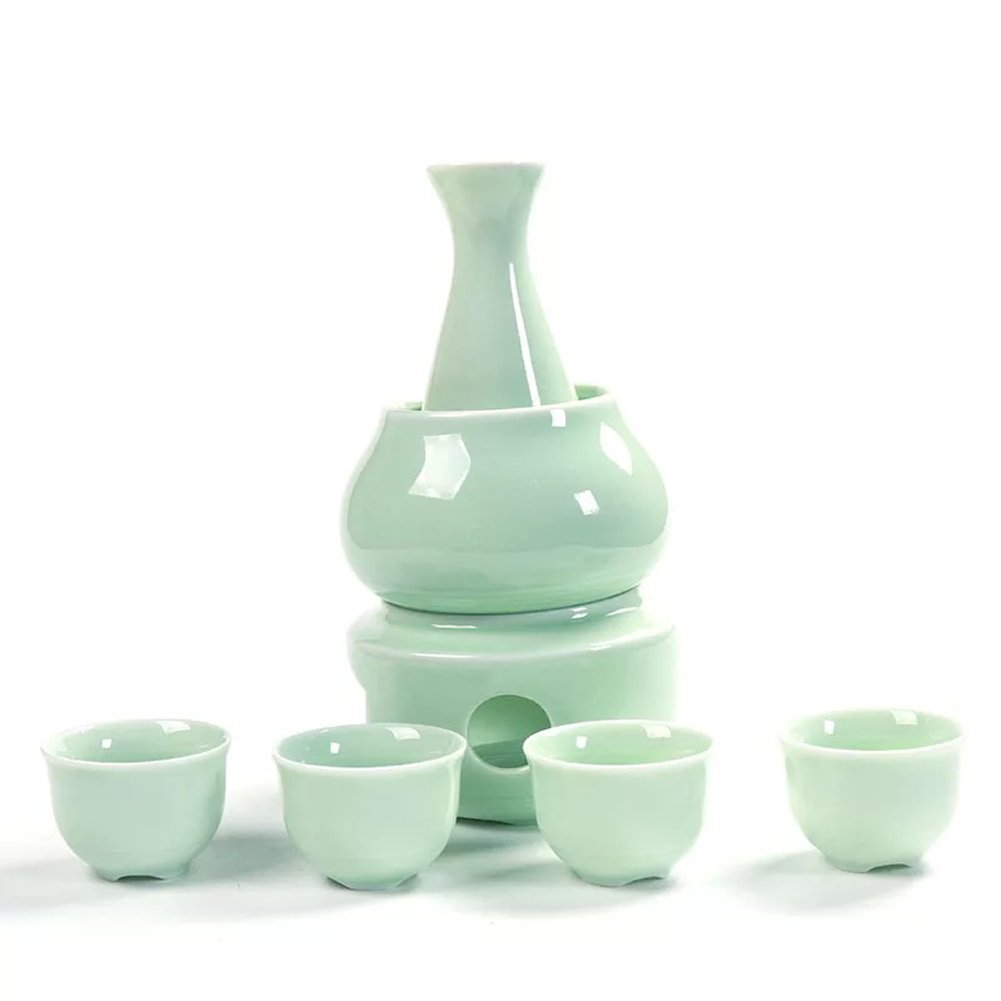 KCHAIN Ceramic Sake Serving Set with the Japanese Wine Bottle Warmer Cups and Heating Pot