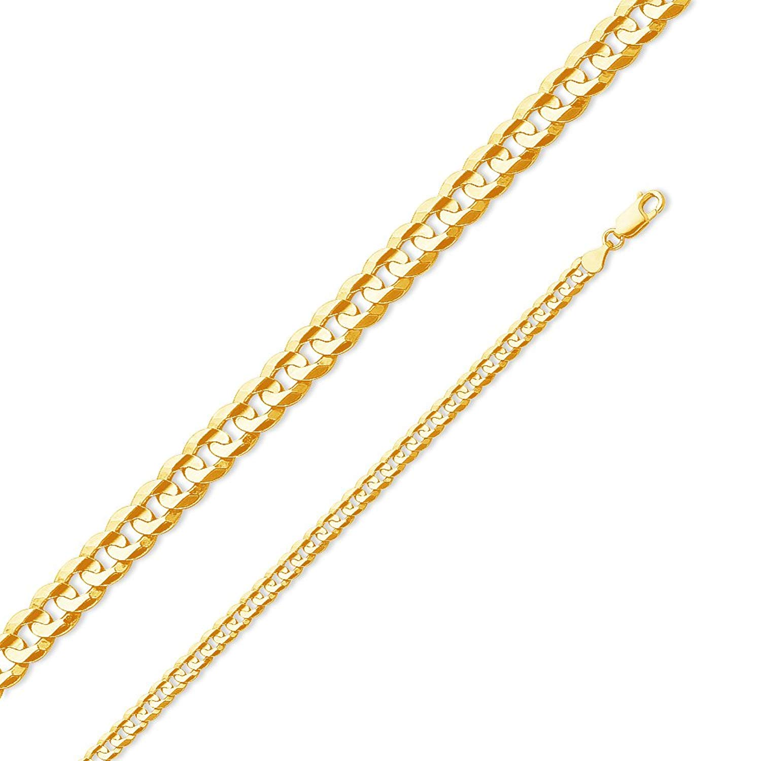 Jewel Tie Solid 14K Yellow Gold Solid 4.5mm Cuban Concaved Curb Necklace Chain