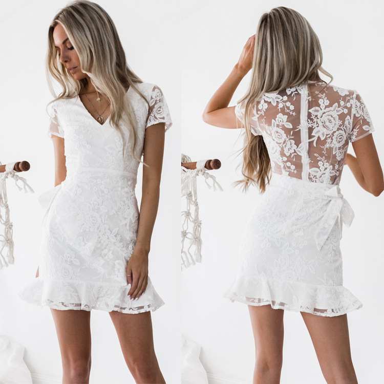 summer <strong>women</strong> <strong>clothing</strong> back embroidered white short sleeve ruffled <strong>lace</strong> dress