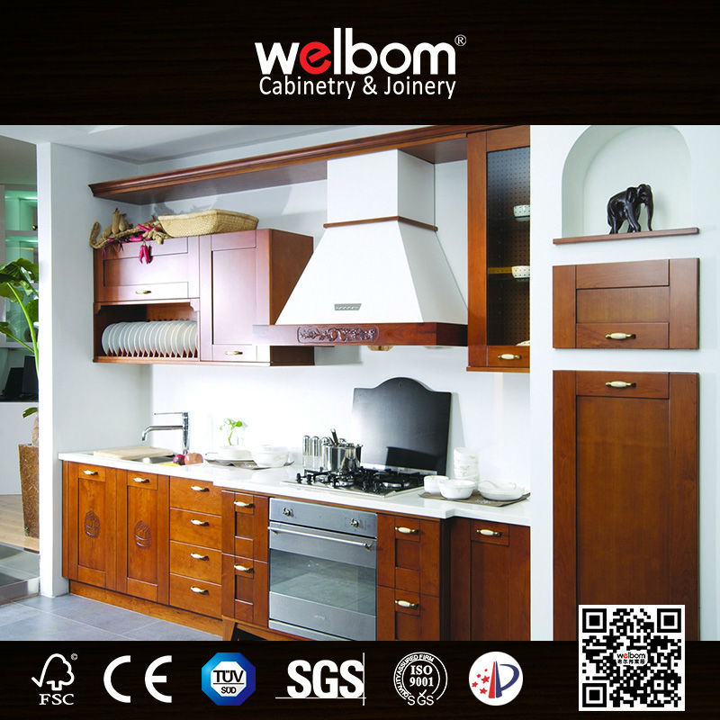 Solid Wood Kitchen Walnut Cabinets: Dark Color Solid Wooden Walnut Kitchen Cabinets