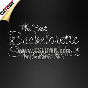 Hot fix clear crystal words bachelorette iron on transfers