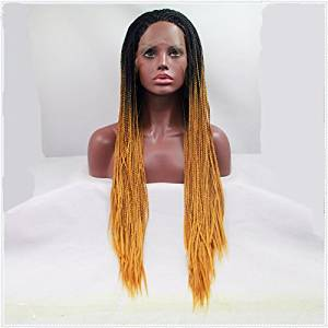 African Women Braids Wig Synthetic Lace Front Wig Ombre Blonde Hair Black to Blonde Braided Wig Heat Resistant Fiber Wig For Black Women
