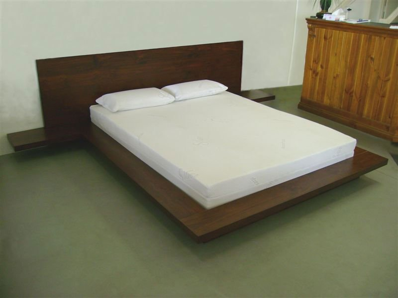 Platform bed with headboard hardwood made