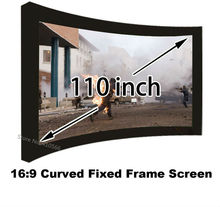 Full New HD Projector Screen 110″ Arc Fixed Frame DIY Projection Screen 16:9 Wall Mounting For 3D Cinema Theater