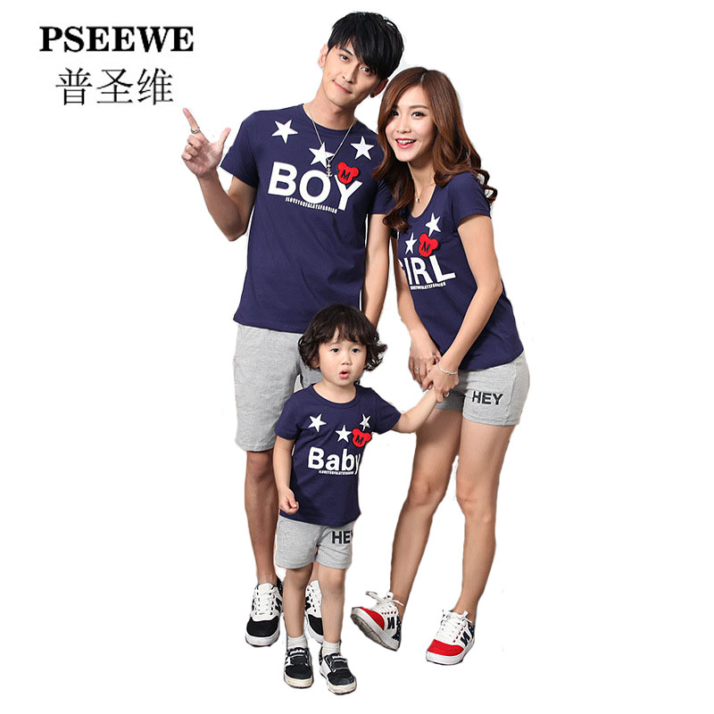 PSEEWE 2016 family matching outfits newest design family matching mother and daughter clothes father and son