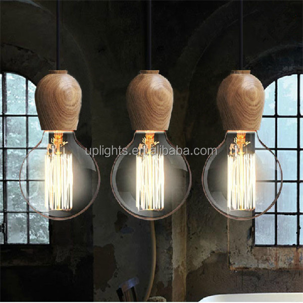 High Quality Wood Haning Pendant Lamp Cord Set With Edison Bulbs ...