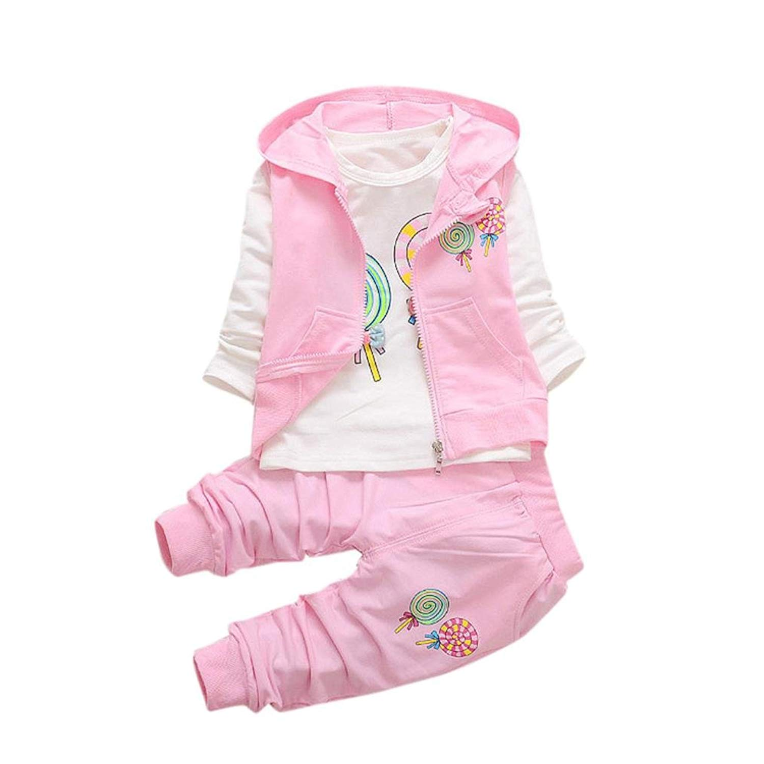 a7800ff8e417 Get Quotations · Ecurson Toddler Baby Girls Lolly T-shirt+Hooded  Waistcoat+Pants Outfits Set