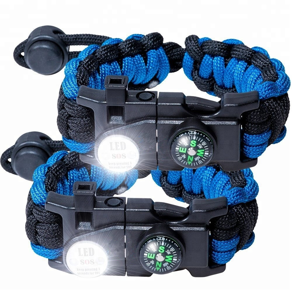 Survival 550 Paracord Bracelet Kit For Men Women Tactical Gear With LED Light Buckle Firestarter And Compass, 240 colors