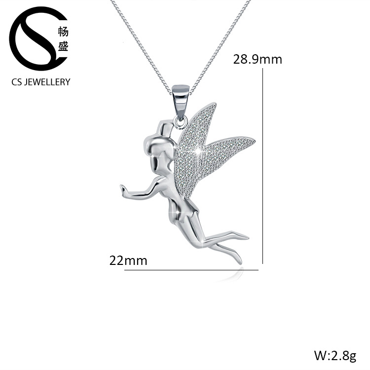 Fashion love angel cupid pendant 925 sterling silver necklace