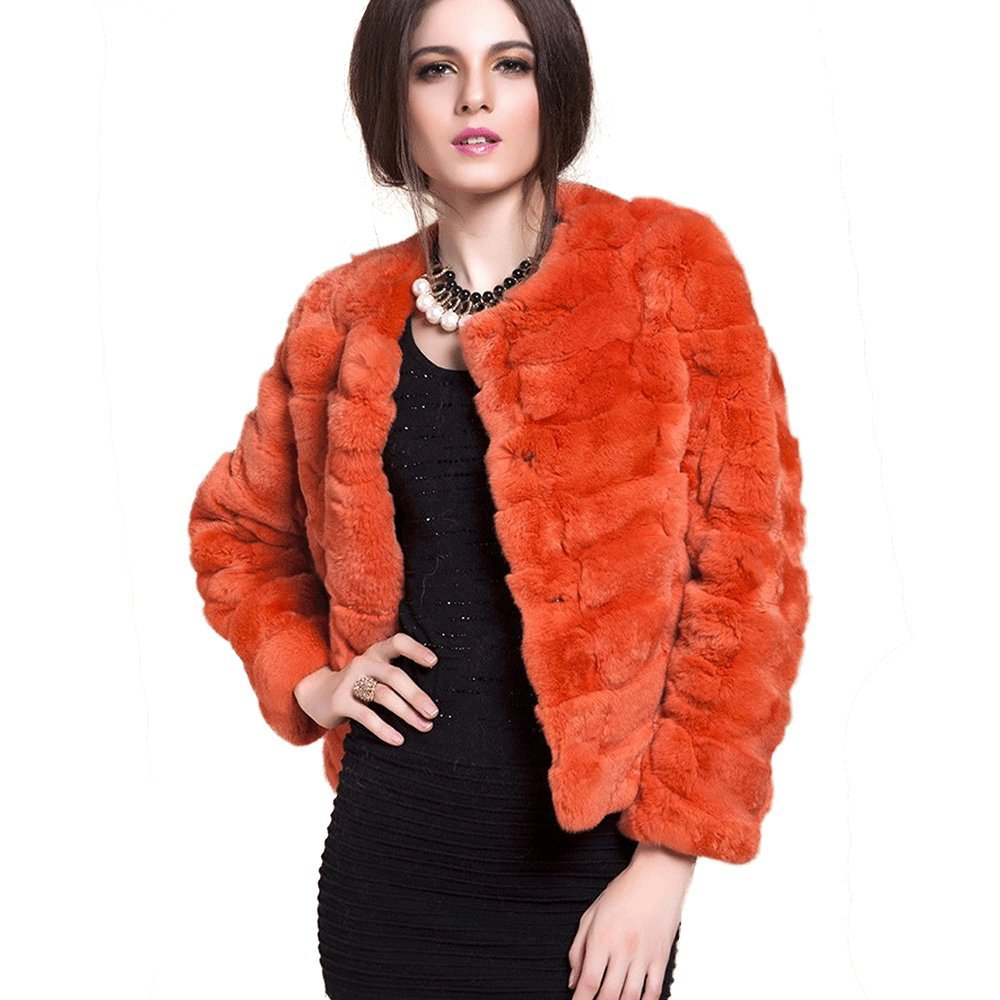 Qiudu Women's Rex Rabbit Fur Coat Short Style Without Collar