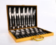 Luxuny Gold Wooden Case Stainless Steel 16 / 24pcs Cutlery Sets