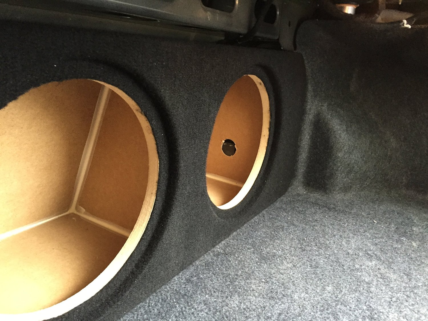 """Zenclosures 2015-2016 Mustang 2-10"""" Subwoofer Box W/recessed Mounting Holes, Rear Fire - BLACK, Version 2"""