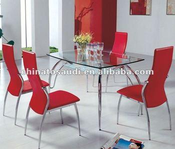 Moda Rojo Mesa De Comedor Y Silla Conjuntos De Comedor De Vidrio ...