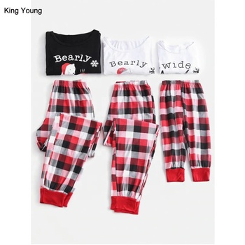 KY mother father baby Bear Graphic Plaid Christmas matching family pajamas