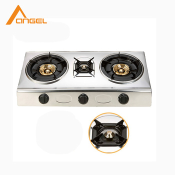 Low Price Kitchen Cooking Table Stand 3 Burner Gas Stove Stainless Steel