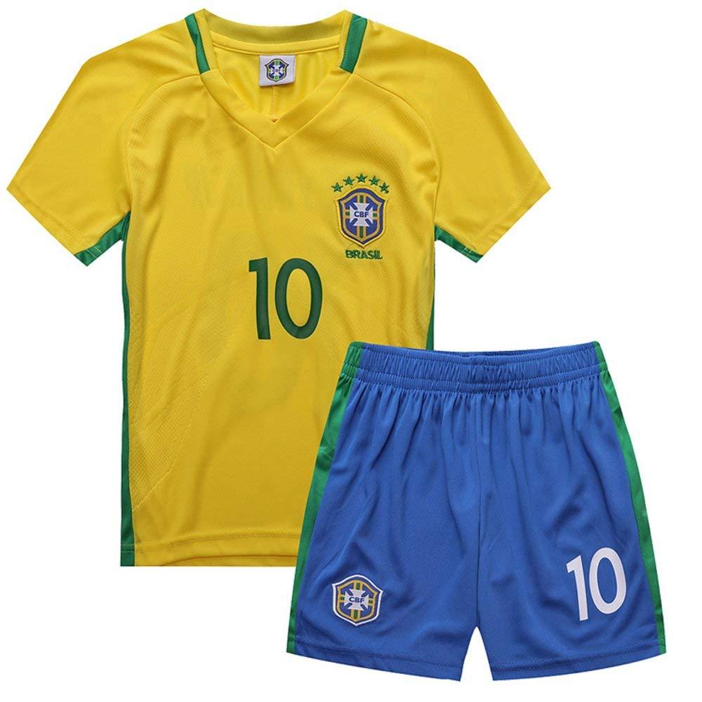 17950d9a1 yuqier Brazil Soccer Team Neymar JR 10  Home 2018 World Cup Soccer Kids Boy  3