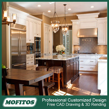 2017 American style white PVC kitchen cabinet furniture with high cabinet & 2017 American Style White Pvc Kitchen Cabinet Furniture With High ...