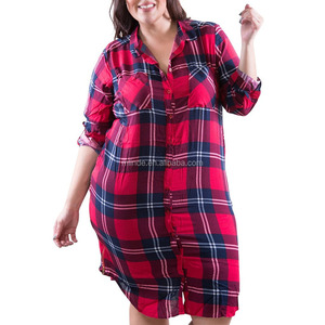 Fashion Sexy Women's Plus Size Aztec Plaid Printed Dress: Button Down Dresses with Collar Zippers Up Each Side Details