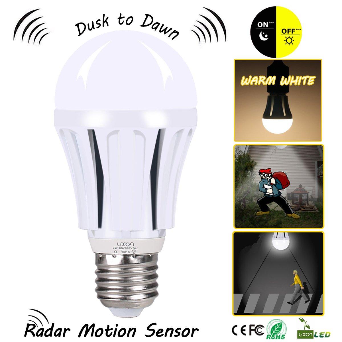 Get Quotations · Dusk to Dawn LED Motion Sensor Light Bulb,100 Watt  Equivalent (9W) A19